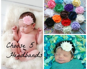 2.00 EACH! Pick 5 Shabby Chic Headbands, Newborn Headband, Baby Headbands, Headband, Baby Headband, Infant Headband, Baby