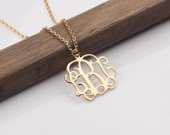 Monogram Necklace - Initial Name Charm - Monogram Jewelry - Custom Monogram Name Pendant - Initial Necklace in Rose gold, Silver, Gold