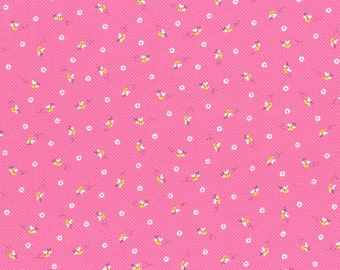 Pink Tiny Flowers Cotton Fabric from the Minny Muu Fall 2016 Collection by Lecien Fabrics