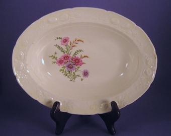 Bowl, Transfer Ware, Homer Laughlin, Serving,  Purple Marigold, RV 1048, Vintage, Diner Dish, Family Style