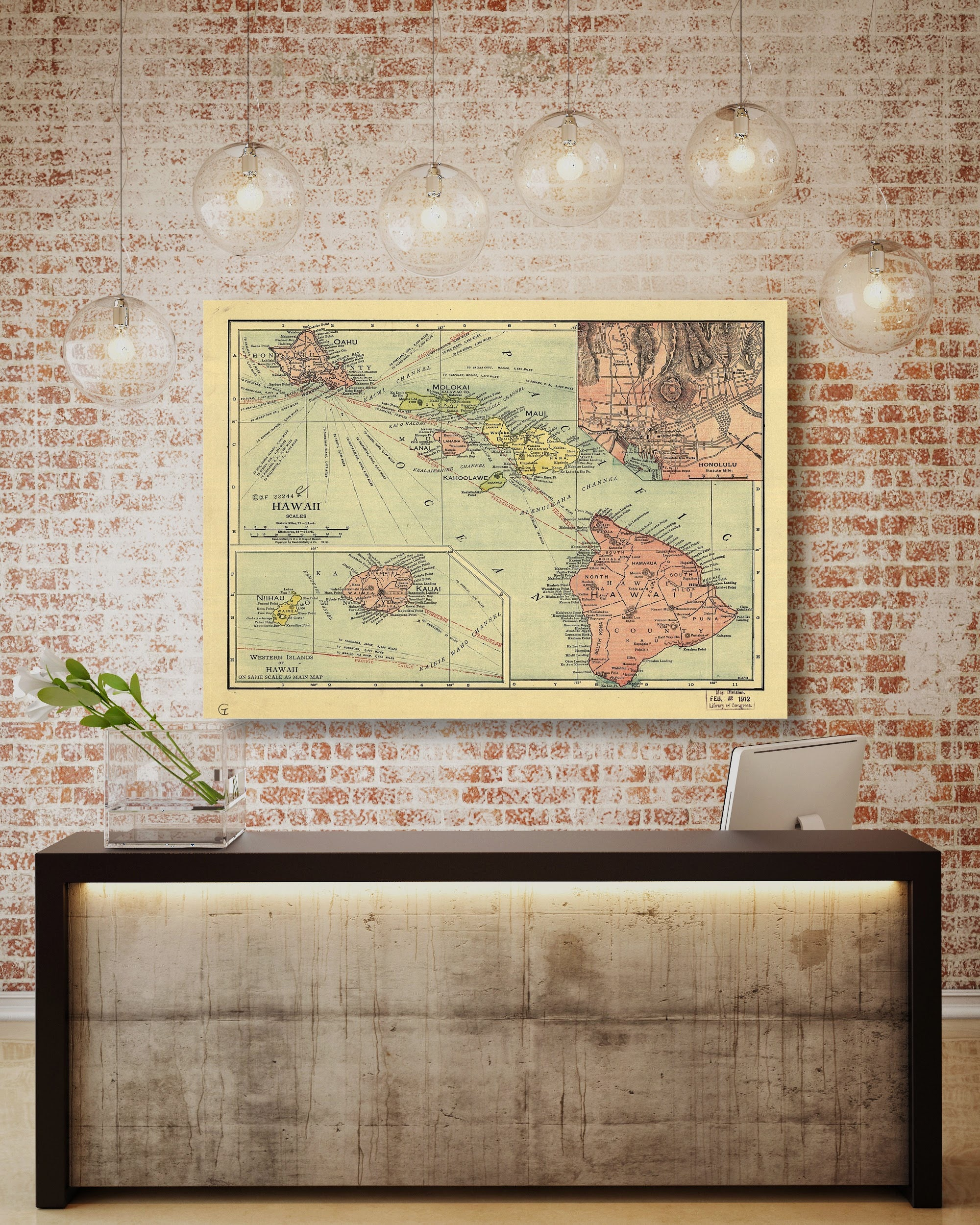 Hawaii State Map, Hawaii Map Canvas, Antiqued Hawaii Map, Canvas ...