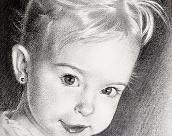 """Custom Pencil Portrait 8""""x10"""" drawing of people, pets, dogs, cats, children, parents. Various prices."""