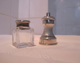 Antique Silver Salt Cellar and Pepper Mill
