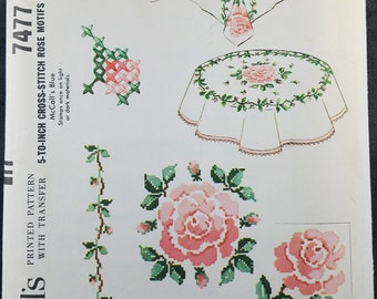 Vintage McCall's Pattern 7477 Cross Stitched Roses Tablecloths