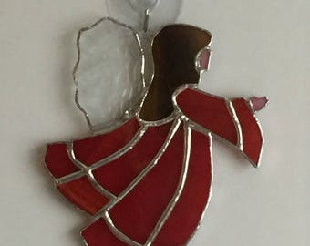 Stained glass Christmas angel suncatcher