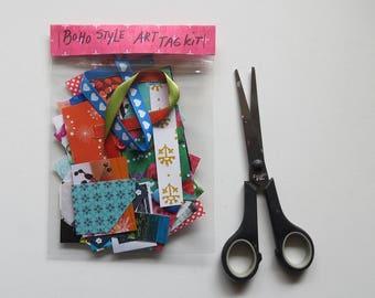 Boho style art tag kit, mini collage kit, paper goodies, art kit, scrapbooking, journaling