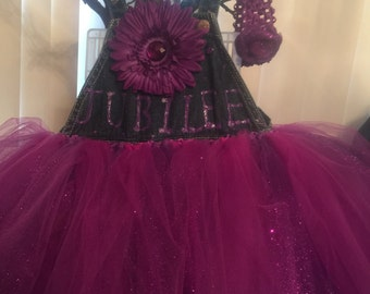overall tutu dress and headband Set