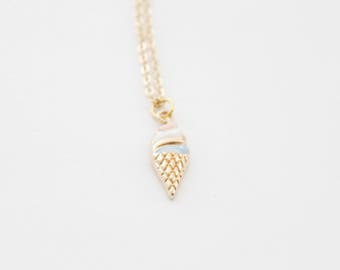 Ice Cream Jewelry, Ice Cream necklace, Ice Cream Cone Necklace, Ice Cream cone charm, Gold Ice Cream Necklace