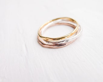 Hammered Thin Rings Set of 3 Sterling Silver Rose Gold Gold Filled Wispy 1mm Textured Stacking Rings Minimalist Boho Luxe Gifts
