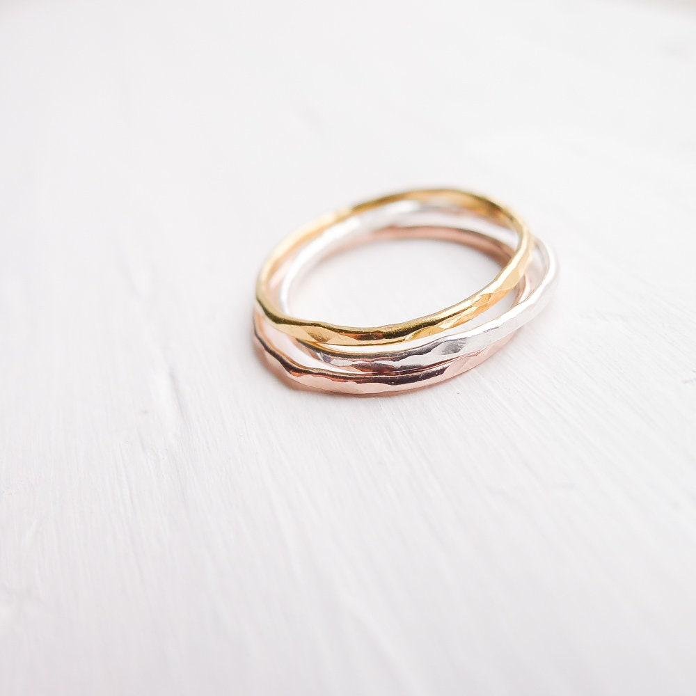 Gehämmert dünne Ringe Set von 3 Sterling Silber Rose Gold Gold