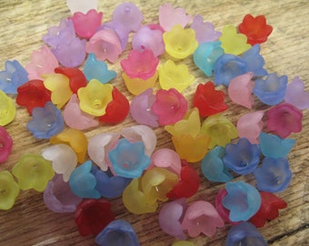 40 Frosted Mixed Color Acrylic Tulip Flower Cap Beads 10x6mm 40 pcs