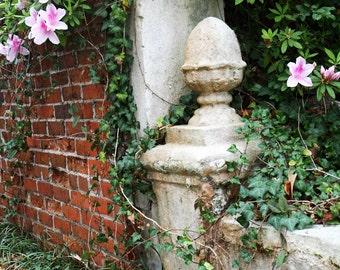 Garden Photograph - Spring Print - Southern Home Decor - NC Photograph - Backyard Patio Wall Art - Pink Azaleas - Brick Wall Photo Green Ivy