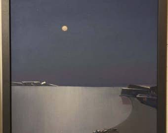 Moon painting, Full moon painting, laguna beach, abstract painting, moon oil painting, glow in the dark, mysterious painting, night painting