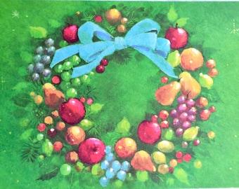Vintage Christmas Card - Mod Mid Century Fruit Wreath - Unused