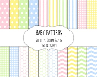 Baby Patterns Digital Scrapbook Paper 12x12 Pack - Set of 20 - Instant Download - Item# 8093