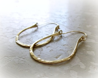 Hammered Brass Earrings, Brass Hoop Earrings, Textured Brass Earrings, Hoop Earrings, Hammered Hoops, Lightweight Hoops, Rustic Earrings