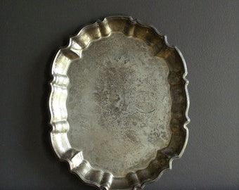 Silverplate Serving Tray - Vintage Silverplate Plant or Drink Tray - FB Rogers