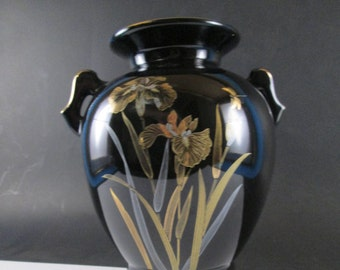 Vintage Black Ceramic With Gold Leaf Flowers Urn Shaped Vase Made in Japan