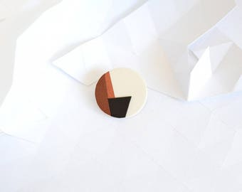 """Geometrics"" leather brooch"