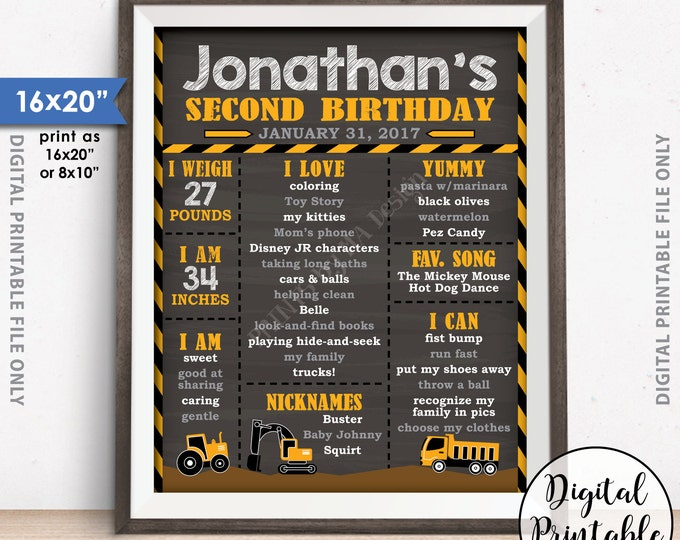 "Truck Birthday Poster, Tractor Birthday Personalized Milestones Sign, Yellow Truck B-day, Chalkboard Style PRINTABLE 8x10/16x20"" B-day Sign"
