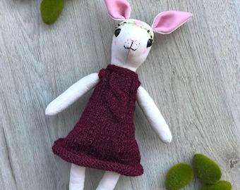 Rabbit Bunny plush / fabric doll handmade, rag doll, heirloom doll