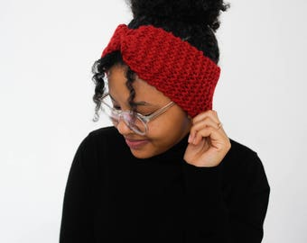 Red headband, wool, hand knitted