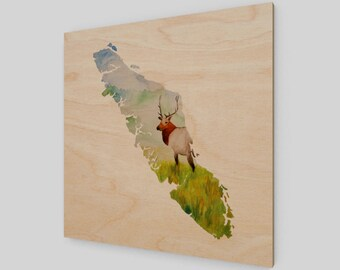 Vancouver Island Elk Watercolor Wood Print