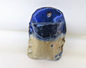Vintage Match Safe | Pottery Wall Pocket | Pottery Match Striker | Key Pouch for Wall