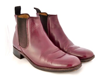 1960s CHELSEA BOOTS Saxone burgundy leather Mod shoes Size UK 8 men's women's unisex red maroon purple