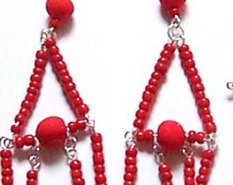 RED GLASS CLAY chandelier earrings dangle