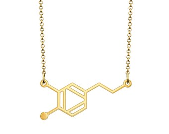 Small Dopamine Molecule Necklace - Gold