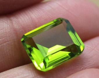 Peridot Rectangle Faceted Gemstone Emerald Cut Peridot Gem 10X12mm C18G FREE SHIPPING