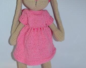 Rabbit Tilda - Hand Knitted Toy - Stuffed Animal - Hand Knit Rabbit - Hand Knit Soft Toy-Knit Bunny