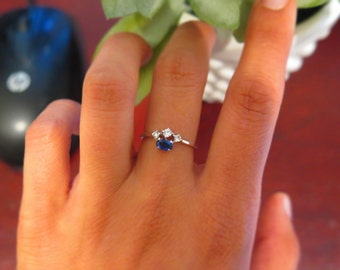 Sterling silver cubic zirconia & blue sapphire ring