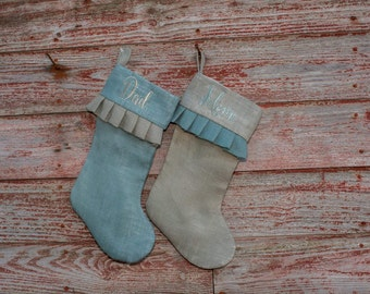 Personalized Christmas Stocking  Burlap Stocking, Monogrammed Stockings, Christmas Decor, Christmas Stockings