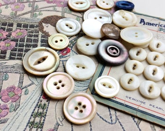 Vintage antique MOP shell buttons carded buttons