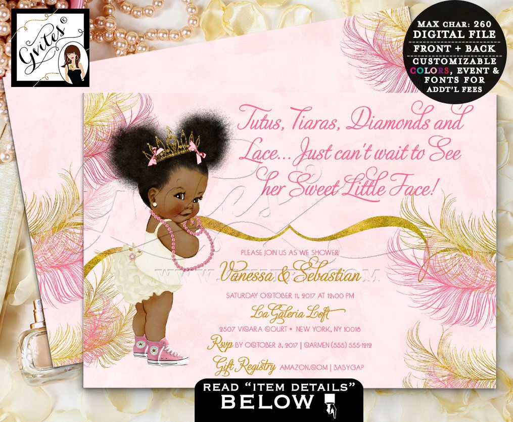Pink and Gold baby shower invitations, Princess Tiara African ...