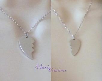 Broken heart - pendant / chain & stainless steel
