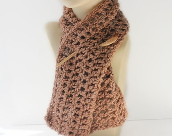 Organic Cotton  Scarf, Carmel Light  Brown Eco Friendly Scarf,  Crocheted  Scarflette, Neck Warmer