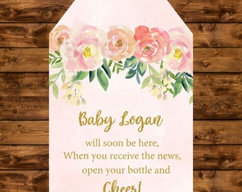 Baby shower tag, pink and gold floral watercolor personalized tag, printable baby shower gift tags, mini champagne bottle favor tags