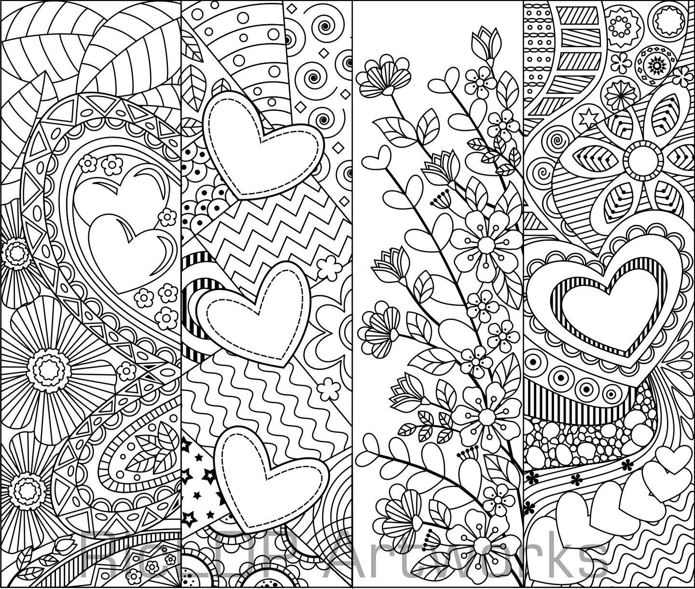 8 druckbare Färbung Lesezeichen mit Herzen Lesezeichen für