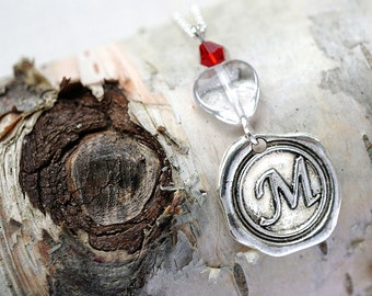 fathers Day Gift Initial disk necklace Personalized Heart Pendant Custom Gift Sterling Chain Wax Seal for dad sister Boho gift for her