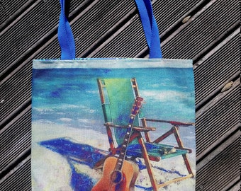Handmade guitar music beach bag Tote