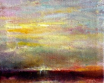 Small Original Oil Painting On canvas, Warm Sky, Yellow, Blue and Orange Sky, Miniature Landscape Oil Painting On Canvas