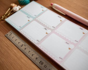 Icecream Weekly Notepad - Weekly Planner Sheets - Cute Pastel Calendar