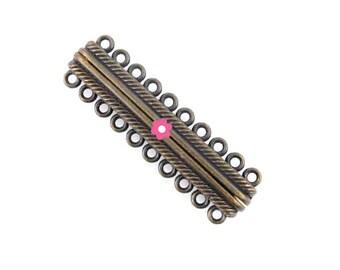 Magnetic clasp bronze 48x14mm cuff (10)