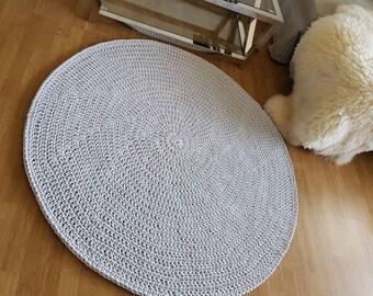 Modern Gray doily rug, Round area rug Nursery Rugs Skandinavische Teppich rund alfombra trapillo modern enfant Large Crochet floor Rug