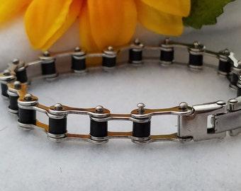 Bike Chain Bracelet, Women's Bicycle Chain Bracelet, Men's Punk Chain Bracelet, Gifts for Cyclist Team Coach Biker, Bicycle Chain Jewelry