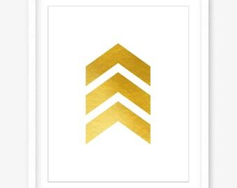 Printable gold chevron print - gold wall decor - printable modern art - wall print - chevron wall art - geometric art - DIGITAL DOWNLOAD