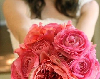 Bright Pink Peony and Ranunculus Wedding Bouquet and Matching Pink Ranunculus Boutonniere